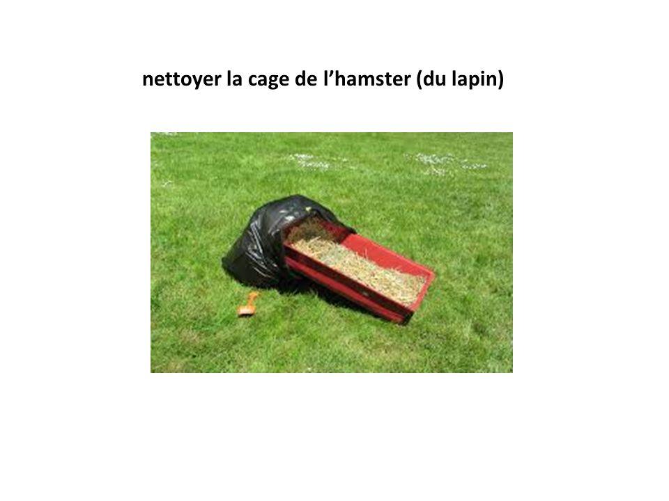 nettoyer la cage de l'hamster (du lapin)