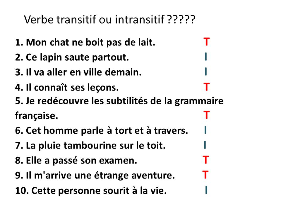 Verbe transitif ou intransitif