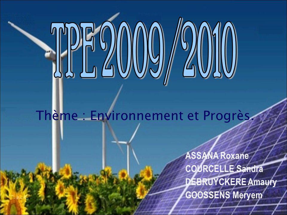 Thème : Environnement et Progrès.