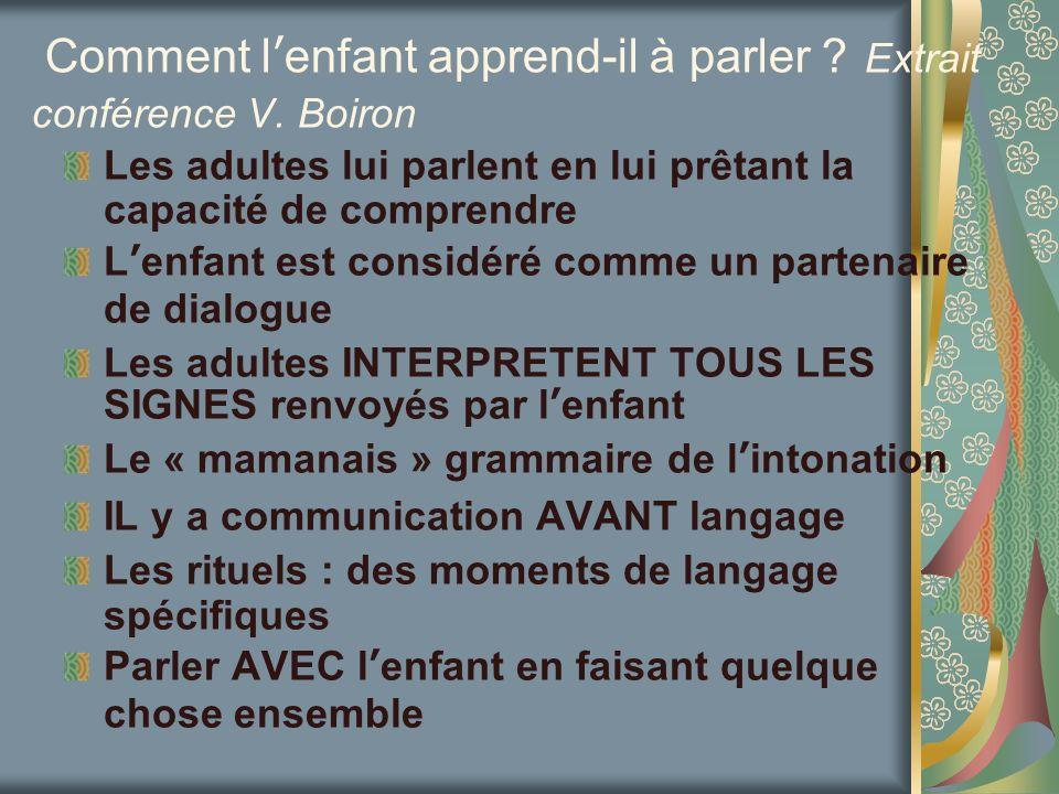 Comment l'enfant apprend-il à parler Extrait conférence V. Boiron