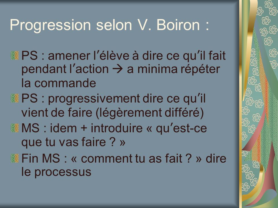 Progression selon V. Boiron :