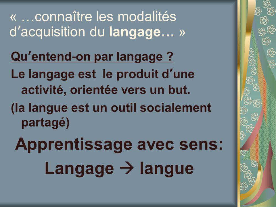 « …connaître les modalités d'acquisition du langage… »