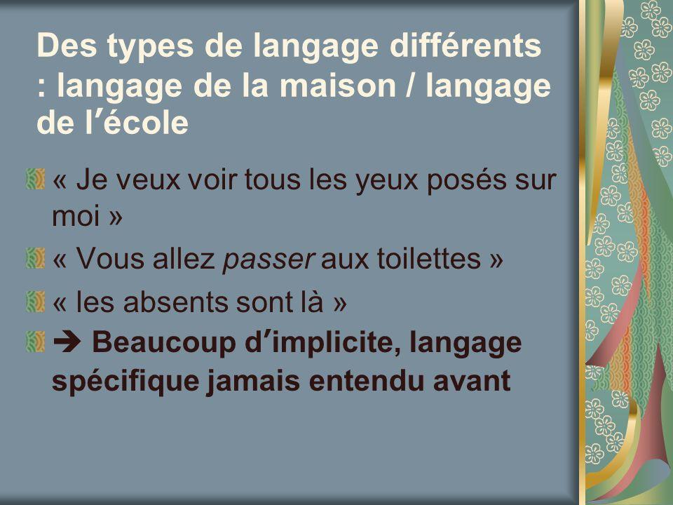 Des types de langage différents : langage de la maison / langage de l'école