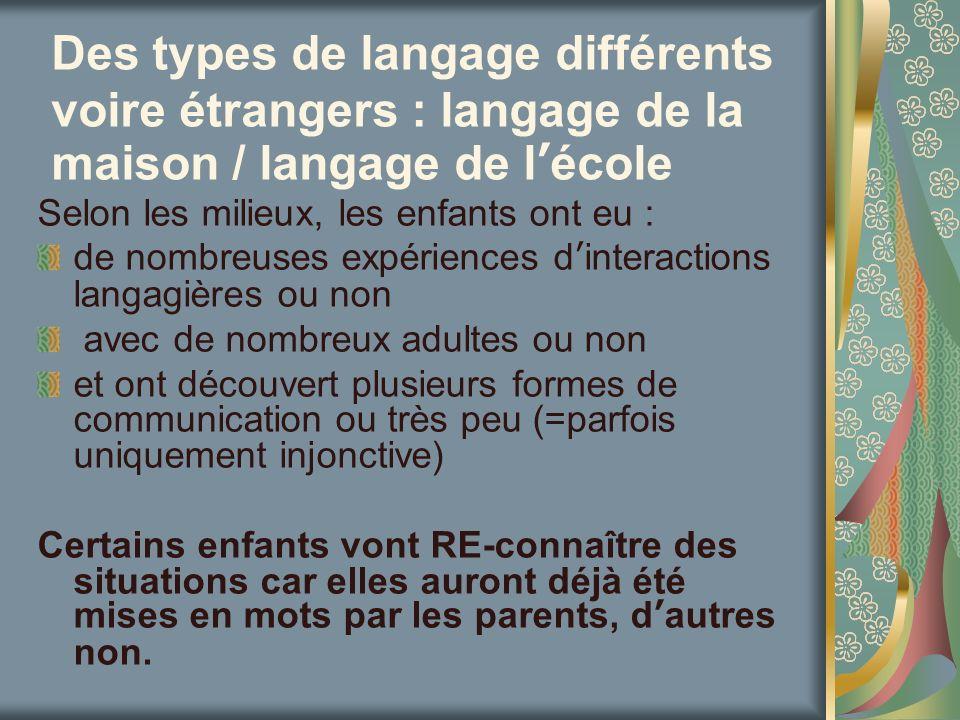 Des types de langage différents voire étrangers : langage de la maison / langage de l'école