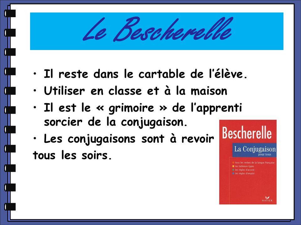 Le Bescherelle Il reste dans le cartable de l'élève.