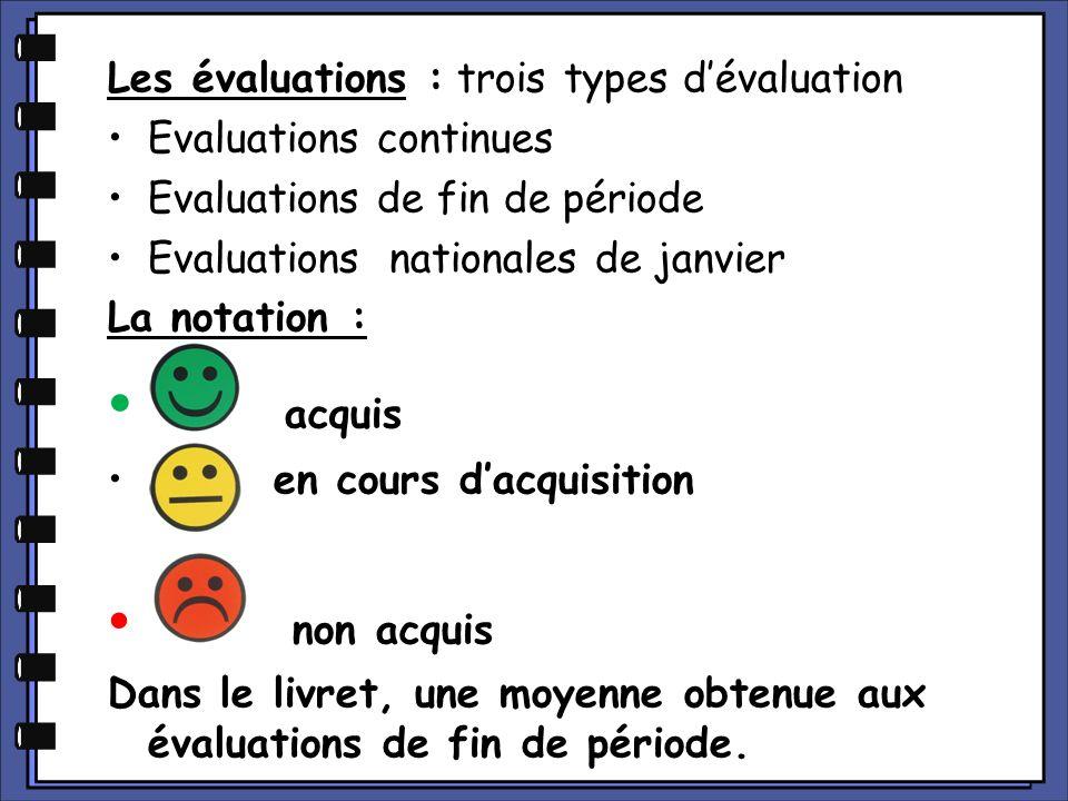 acquis non acquis Les évaluations : trois types d'évaluation