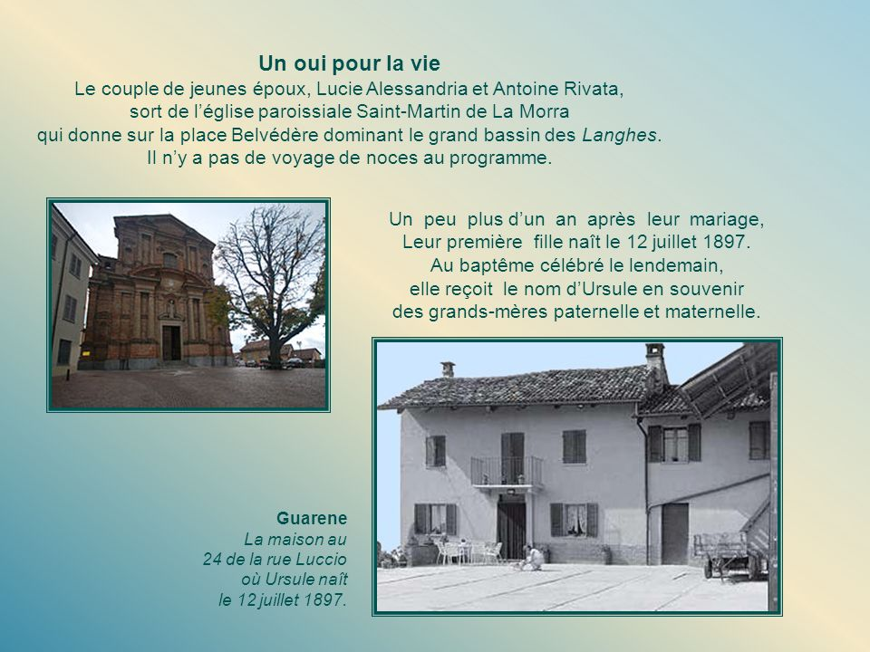 Un oui pour la vie Le couple de jeunes époux, Lucie Alessandria et Antoine Rivata, sort de l'église paroissiale Saint-Martin de La Morra.