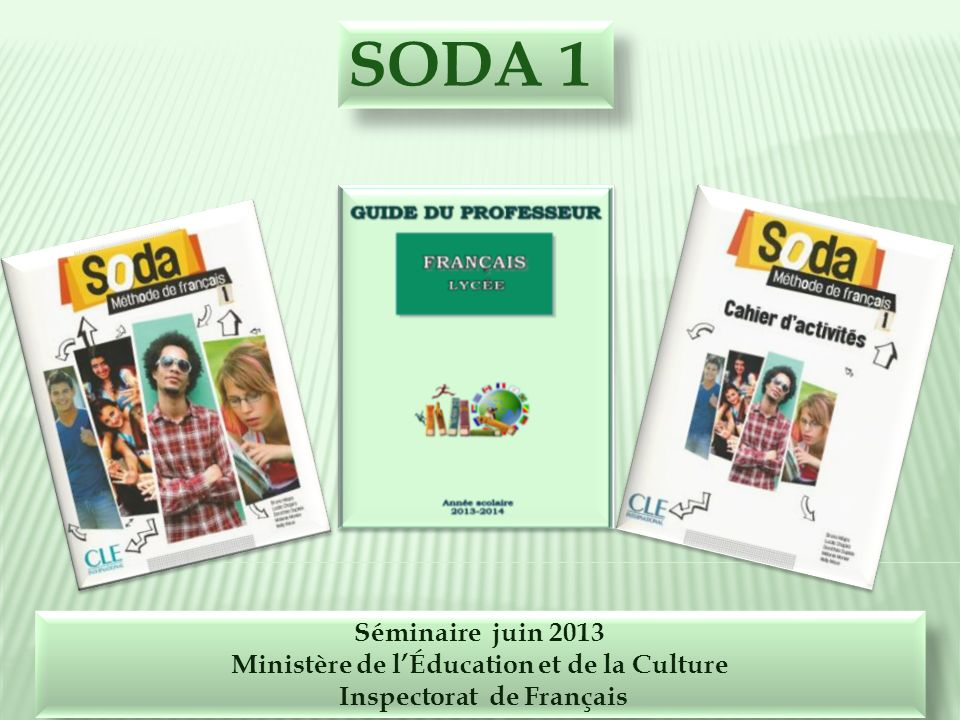 Ministère de l'Éducation et de la Culture Inspectorat de Français