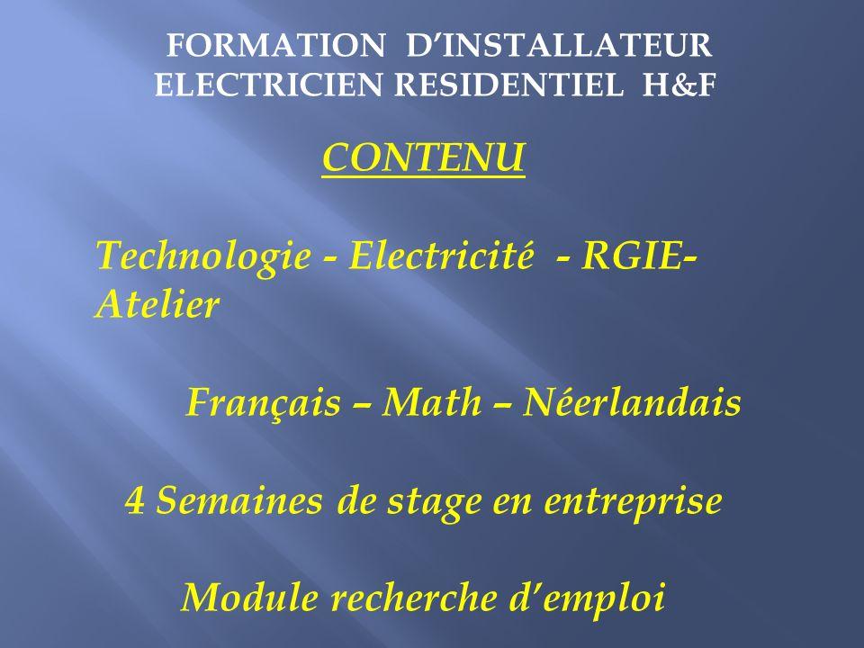Technologie - Electricité - RGIE- Atelier