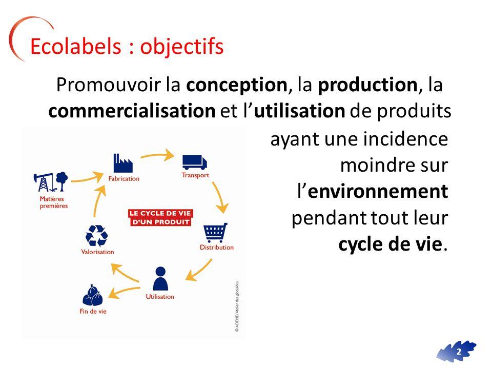 Ecolabels : objectifs Promouvoir la conception, la production, la commercialisation et l'utilisation de produits.