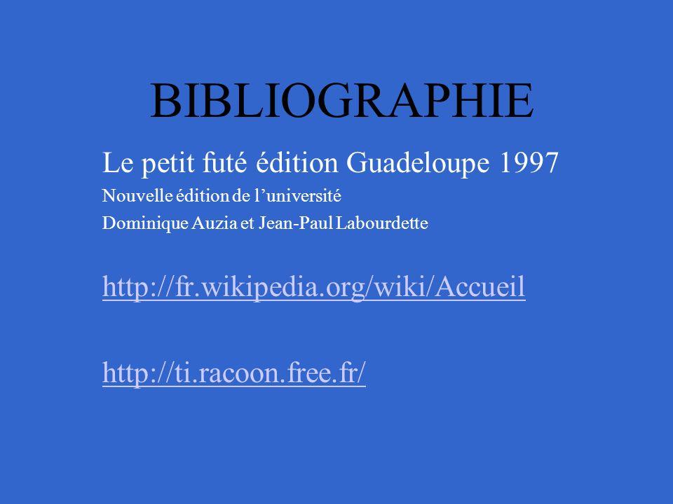 BIBLIOGRAPHIE Le petit futé édition Guadeloupe 1997