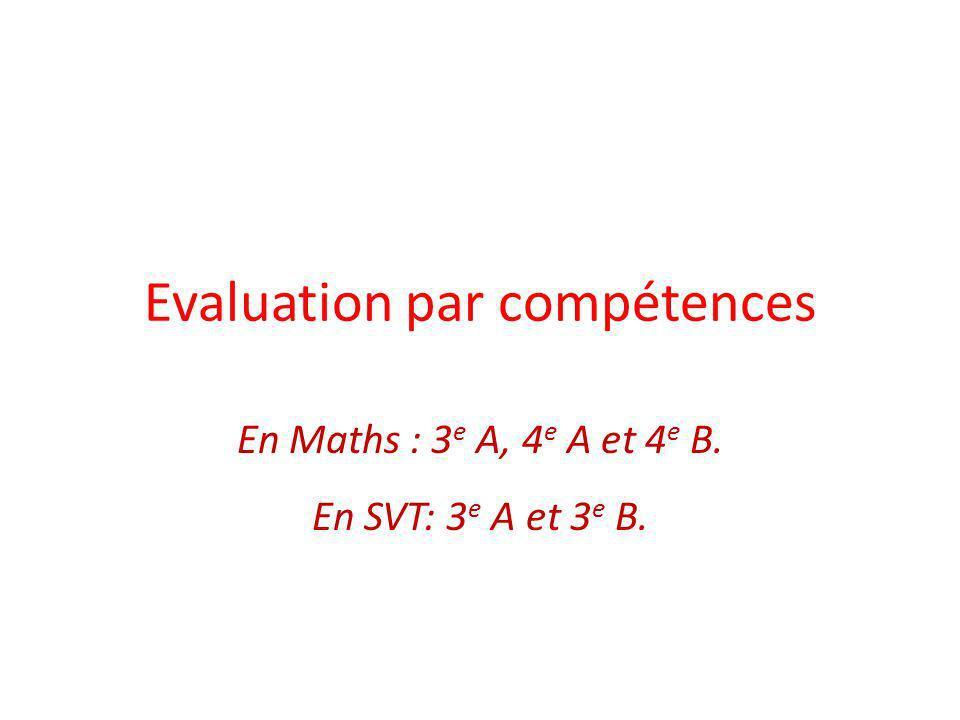 Evaluation par compétences