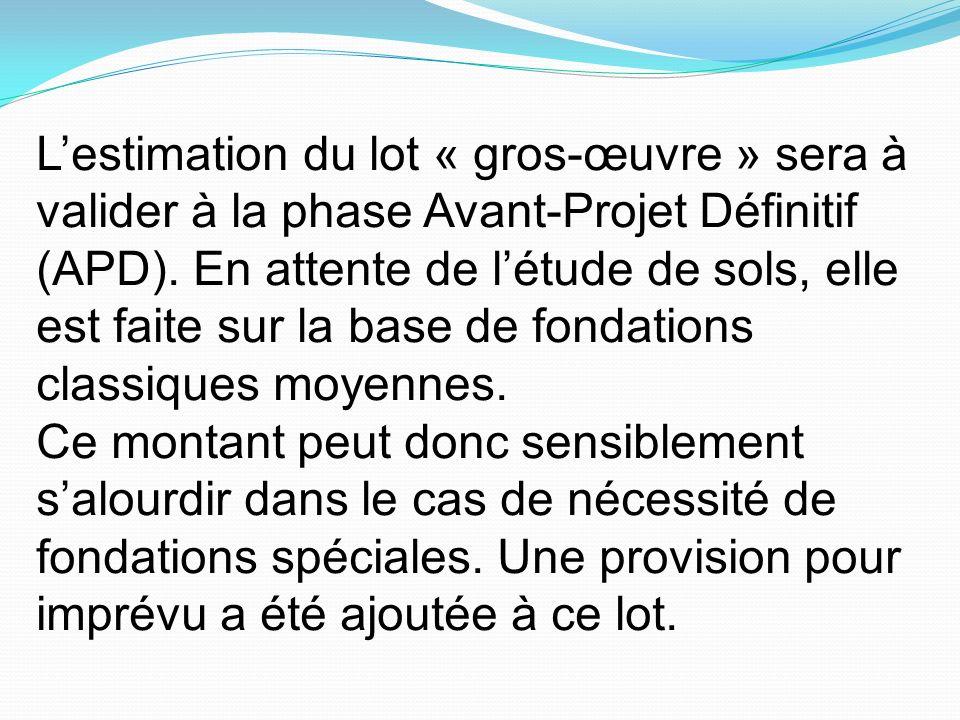 L'estimation du lot « gros-œuvre » sera à valider à la phase Avant-Projet Définitif (APD). En attente de l'étude de sols, elle est faite sur la base de fondations classiques moyennes.