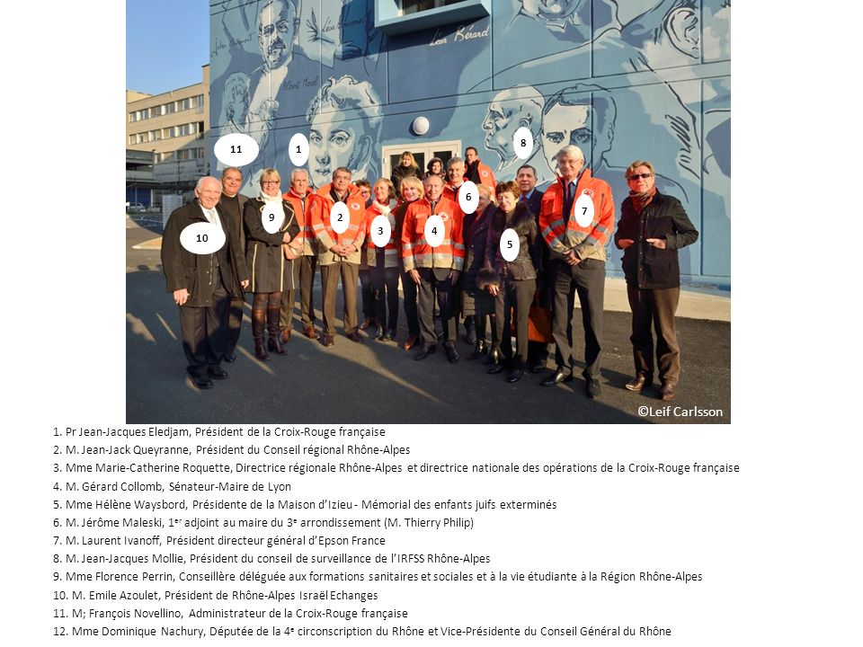 8 11. 1. 6. 7. 9. 2. 3. 4. 10. 5. ©Leif Carlsson. 1. Pr Jean-Jacques Eledjam, Président de la Croix-Rouge française.