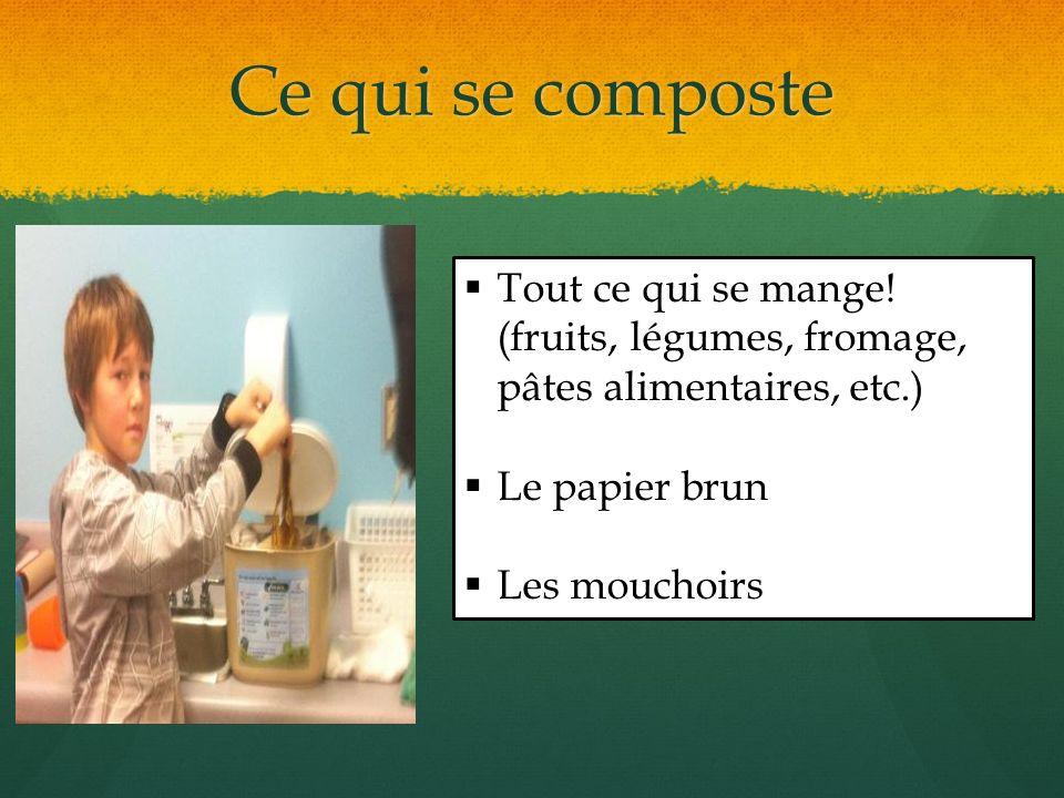 Ce qui se composte Tout ce qui se mange! (fruits, légumes, fromage, pâtes alimentaires, etc.) Le papier brun.
