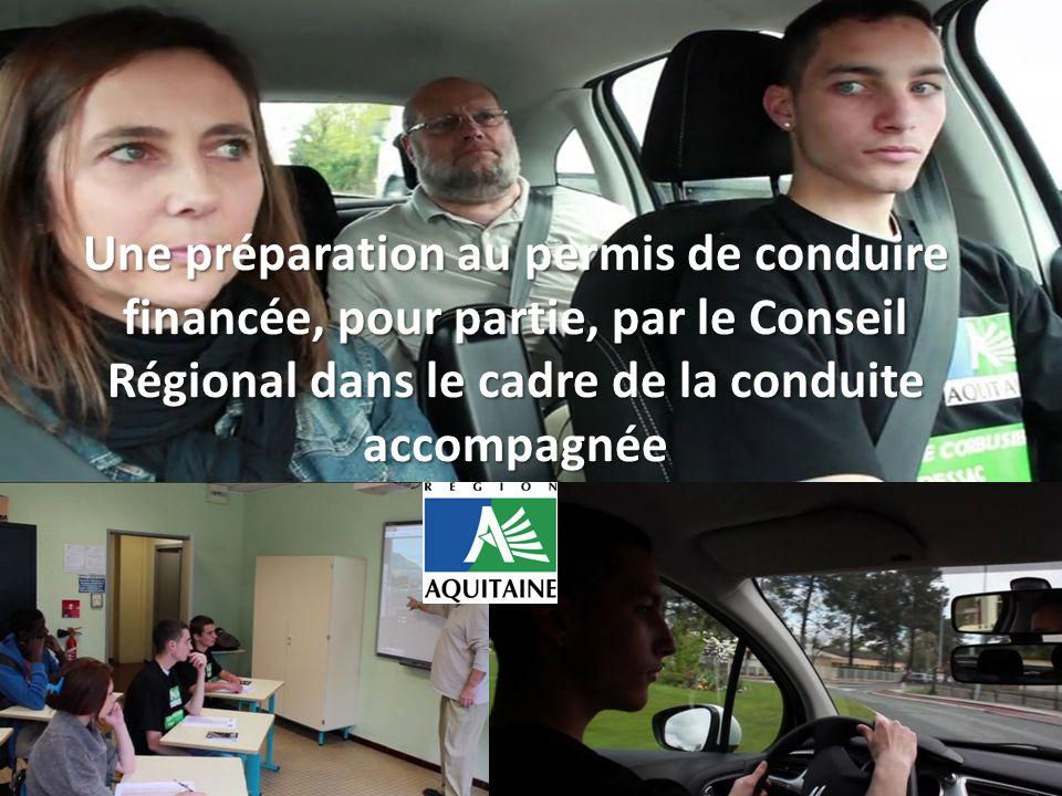 Une préparation au permis de conduire financée, pour partie, par le Conseil Régional dans le cadre de la conduite accompagnée