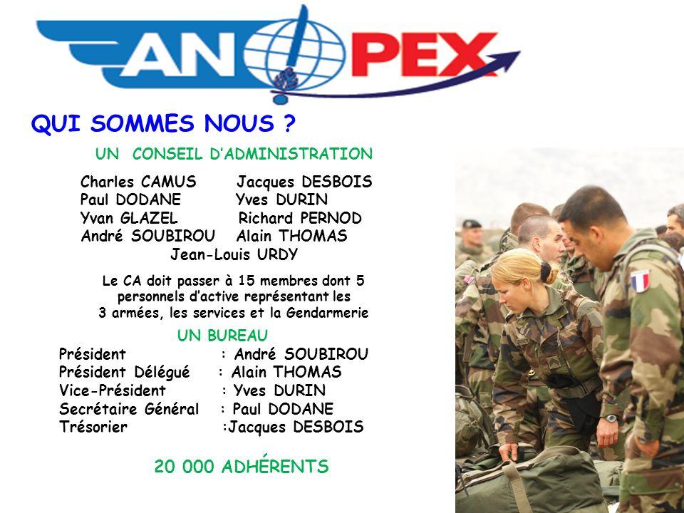 UN CONSEIL D'ADMINISTRATION 3 armées, les services et la Gendarmerie