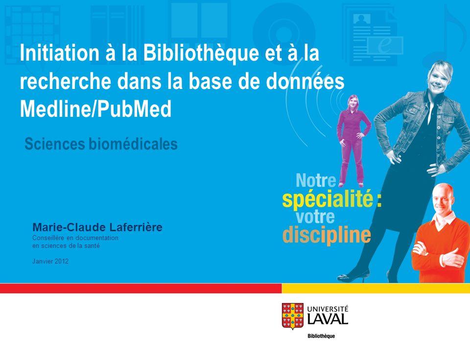 Initiation à la Bibliothèque et à la recherche dans la base de données Medline/PubMed