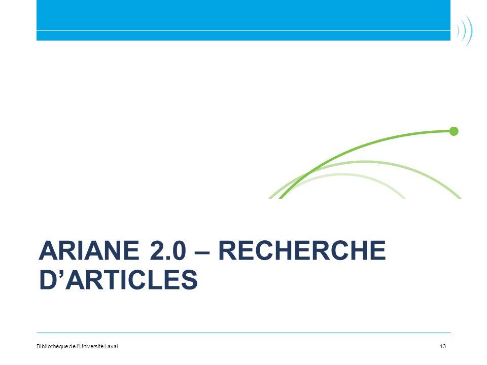 Ariane 2.0 – Recherche d'articles