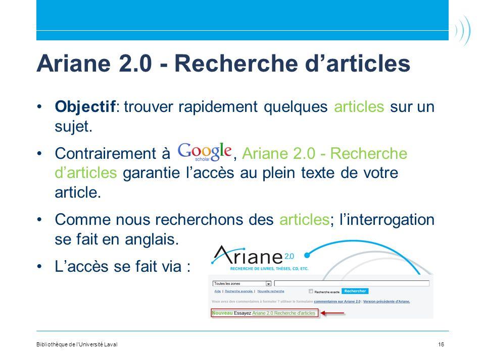 Ariane 2.0 - Recherche d'articles