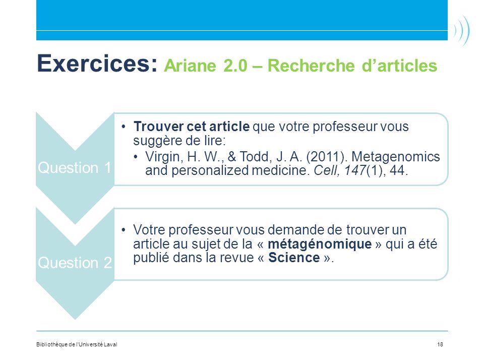 Exercices: Ariane 2.0 – Recherche d'articles