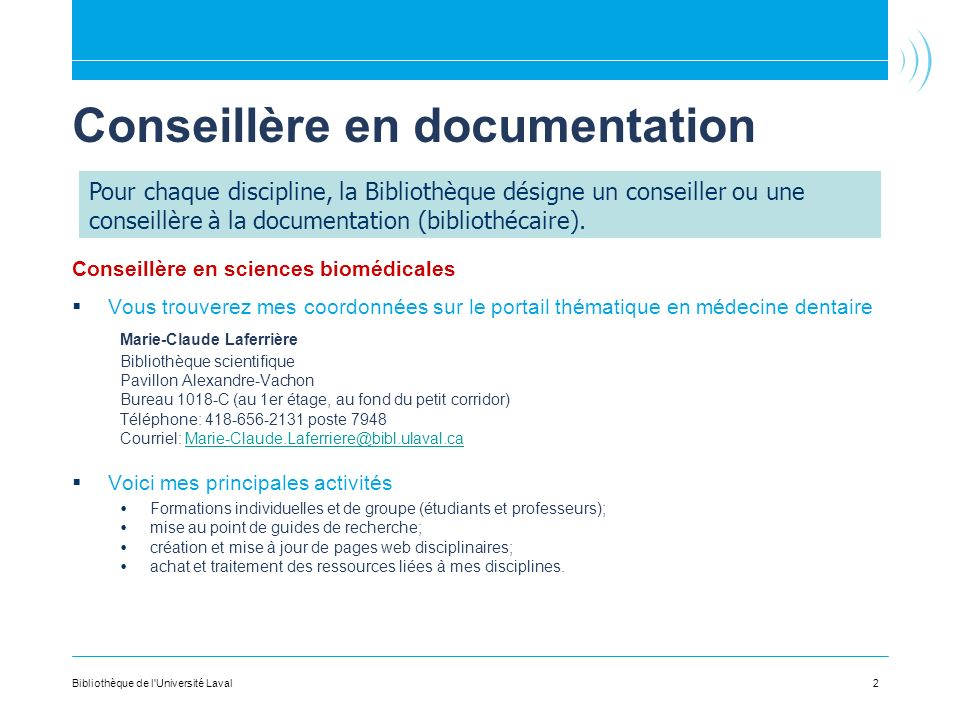 Conseillère en documentation