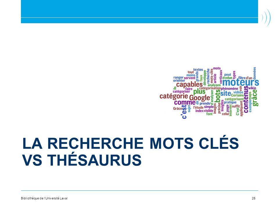 La recherche Mots clés vs thésaurus