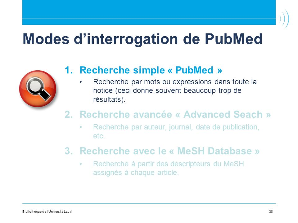 Modes d'interrogation de PubMed