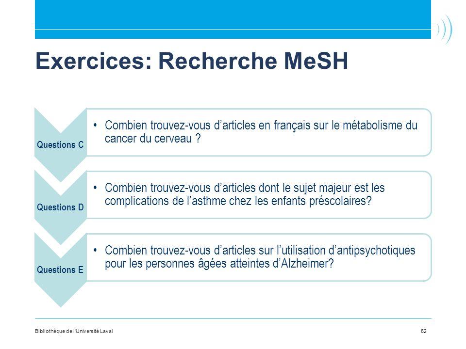 Exercices: Recherche MeSH