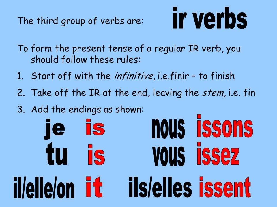 ir verbs issons je is nous tu issez is vous il/elle/on it ils/elles