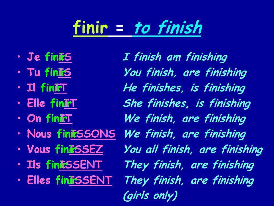 finir = to finish Je fin Tu fin Il fin Elle fin On fin Nous fin