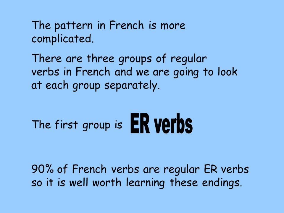 ER verbs The pattern in French is more complicated.