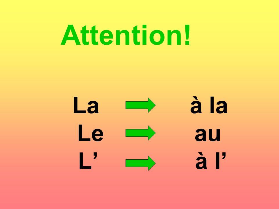 Attention! La à la Le au L' à l'