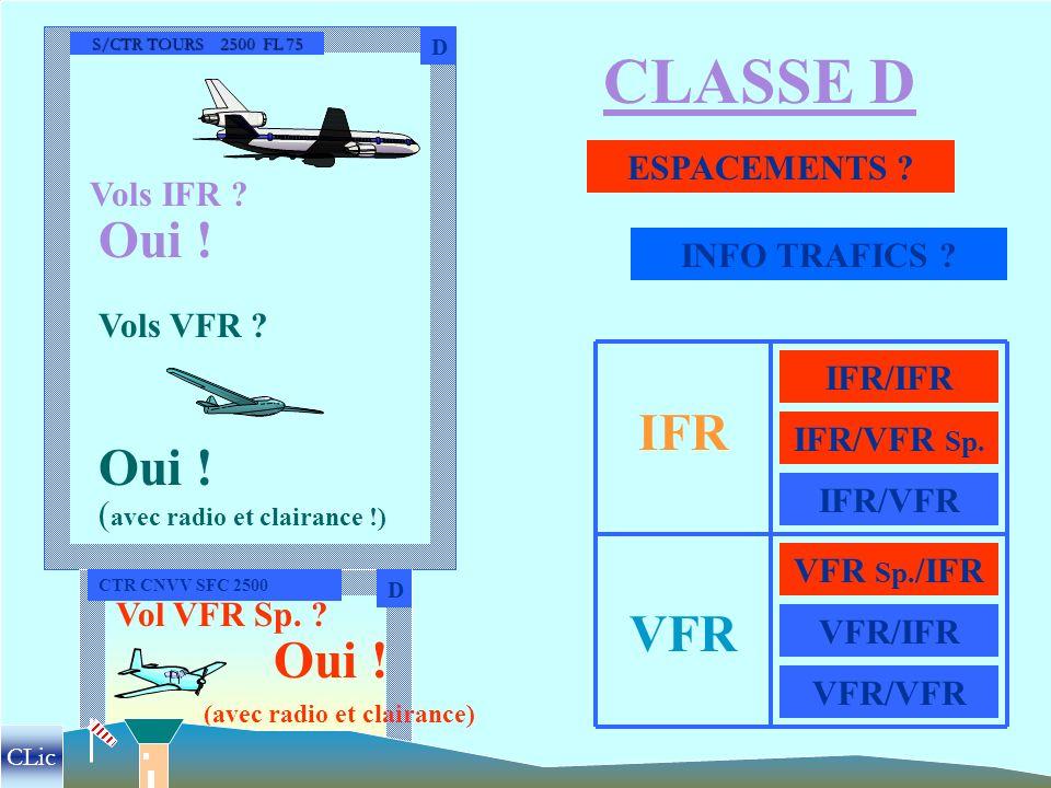 CLASSE D Oui ! IFR Oui ! VFR Oui ! ESPACEMENTS Vols IFR