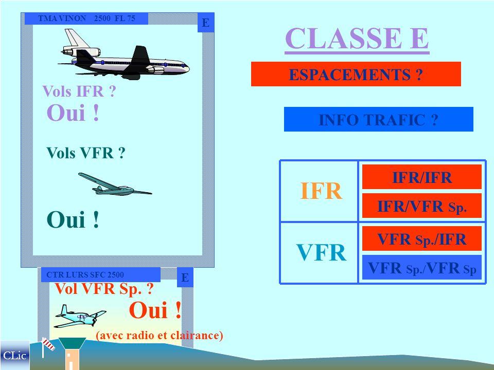CLASSE E Oui ! IFR Oui ! VFR Oui ! ESPACEMENTS Vols IFR