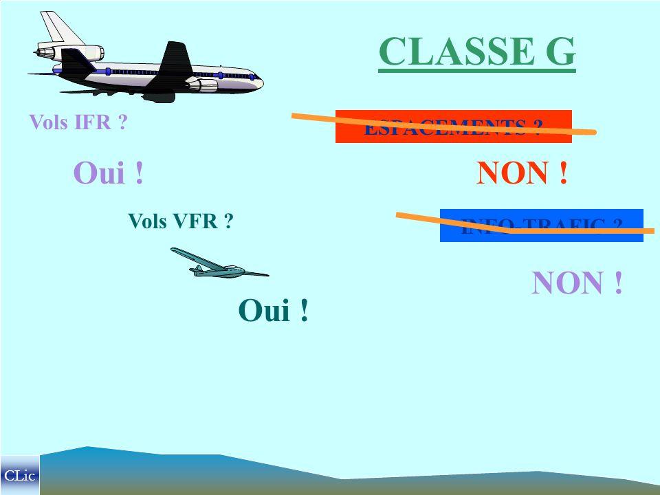 CLASSE G NON ! Oui ! NON ! Oui ! Vols IFR ESPACEMENTS Vols VFR