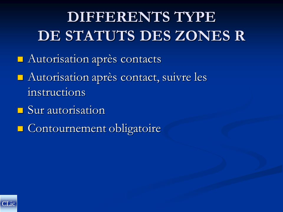 DIFFERENTS TYPE DE STATUTS DES ZONES R