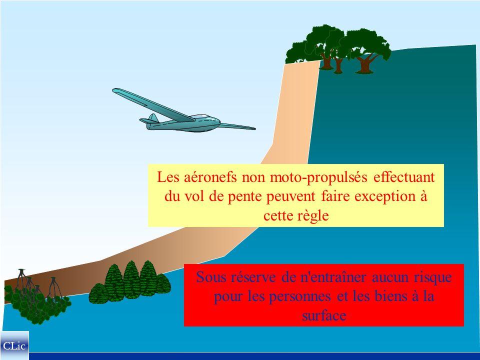 Les aéronefs non moto-propulsés effectuant du vol de pente peuvent faire exception à cette règle