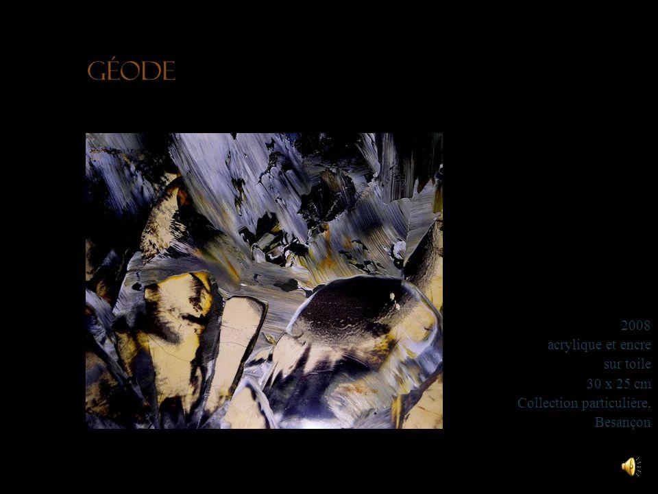 Géode 2008 acrylique et encre sur toile 30 x 25 cm