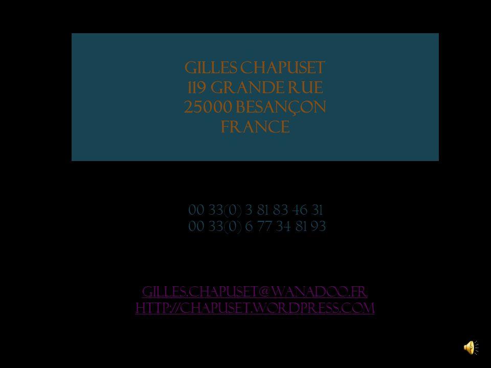 Gilles Chapuset 119 grande rue 25000 Besançon France 00 33(0) 3 81 83 46 31 00 33(0) 6 77 34 81 93 gilles.chapuset@wanadoo.fr http://chapuset.wordpress.com