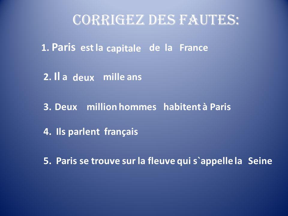 Corrigez des fautes: 1. Paris est la ville de la France capitale
