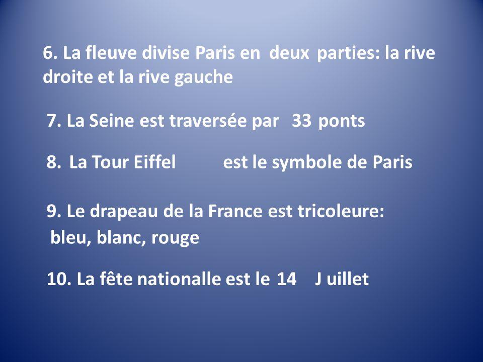 6. La fleuve divise Paris en trois parties: la rive droite et la rive gauche