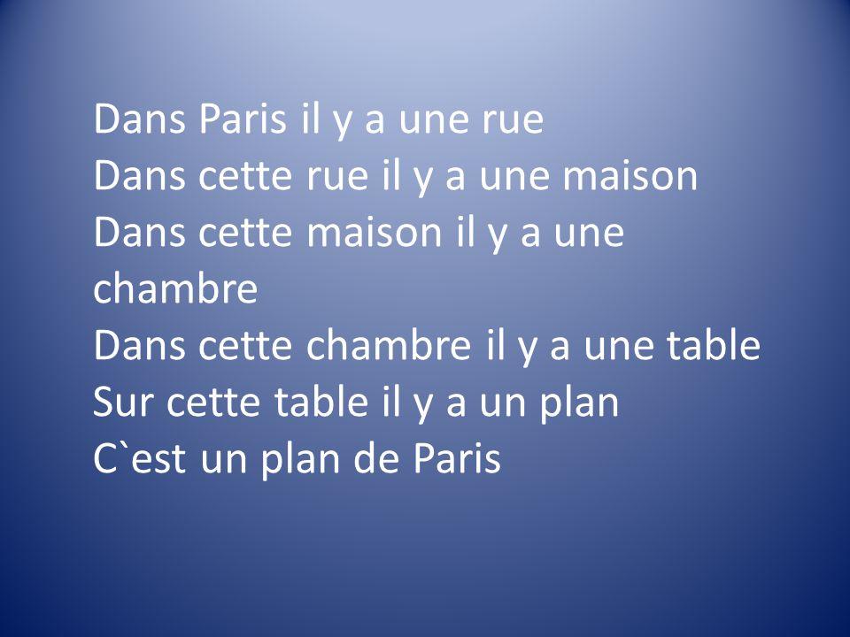 Dans Paris il y a une rue Dans cette rue il y a une maison. Dans cette maison il y a une chambre. Dans cette chambre il y a une table.