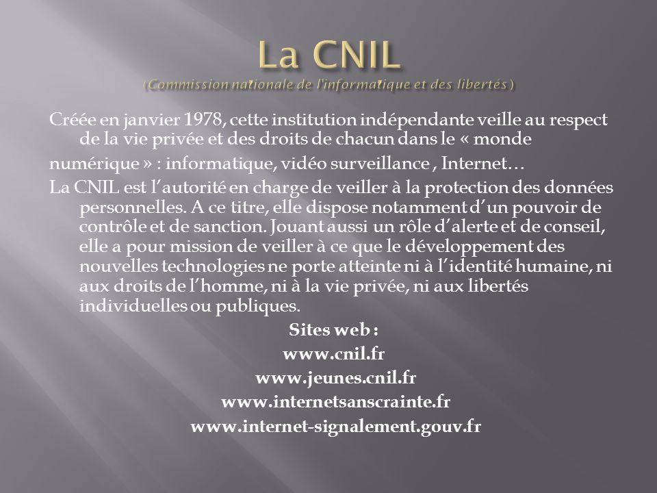 La CNIL (Commission nationale de l informatique et des libertés )