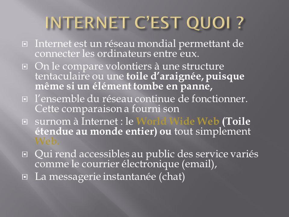 INTERNET C'EST QUOI Internet est un réseau mondial permettant de connecter les ordinateurs entre eux.