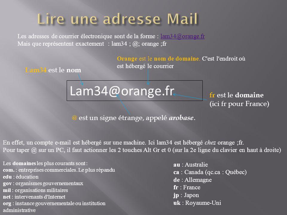 Lire une adresse Mail Lam34@orange.fr Lam34 est le nom