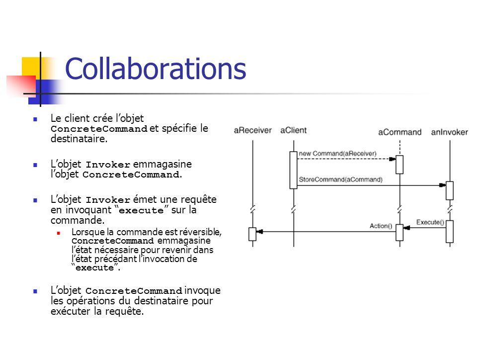 Collaborations Le client crée l'objet ConcreteCommand et spécifie le destinataire. L'objet Invoker emmagasine l'objet ConcreteCommand.