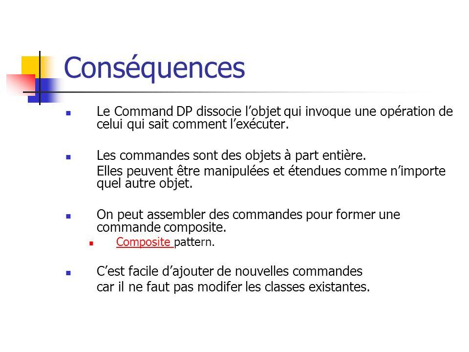 Conséquences Le Command DP dissocie l'objet qui invoque une opération de celui qui sait comment l'exécuter.