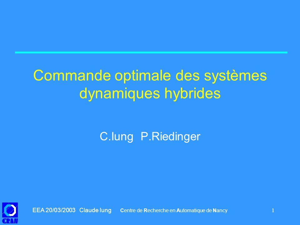 Commande optimale des systèmes dynamiques hybrides