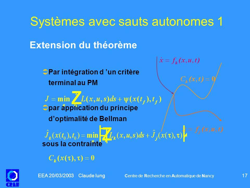 Systèmes avec sauts autonomes 1